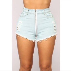 Fashion Nova Shorts - Fashion Nova Extension Distressed Denim Shorts